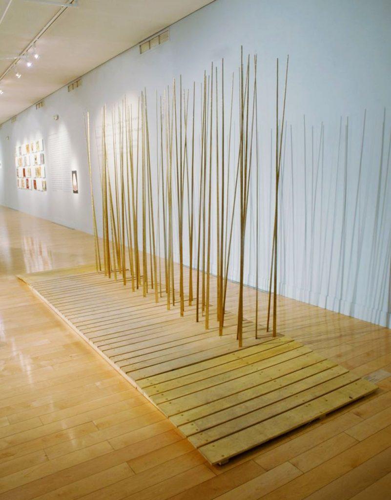 Sculptural sound structure La Terra Trema, 2009, wood, bronze, 220x500x120 cm