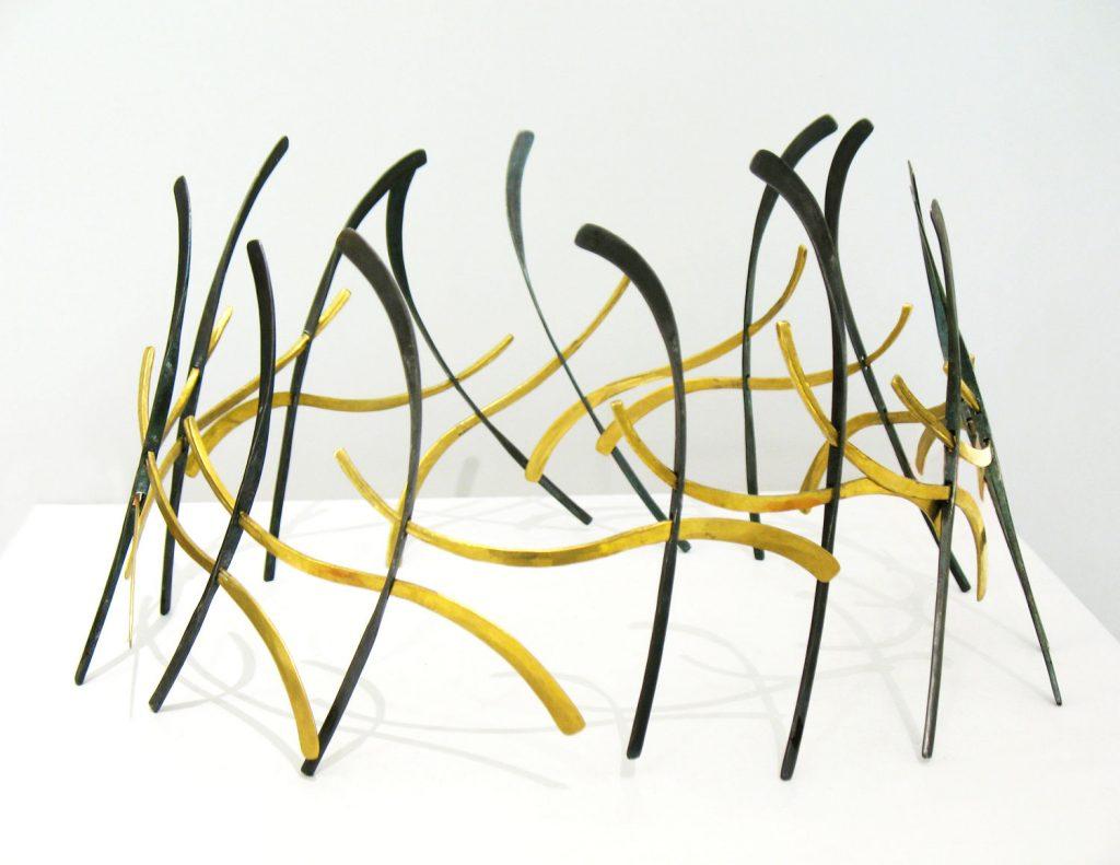 Sculptural composition Dionysiac Dance, 2009, bronze, iron (Interventions), H.18 cm, diameter 25 cm
