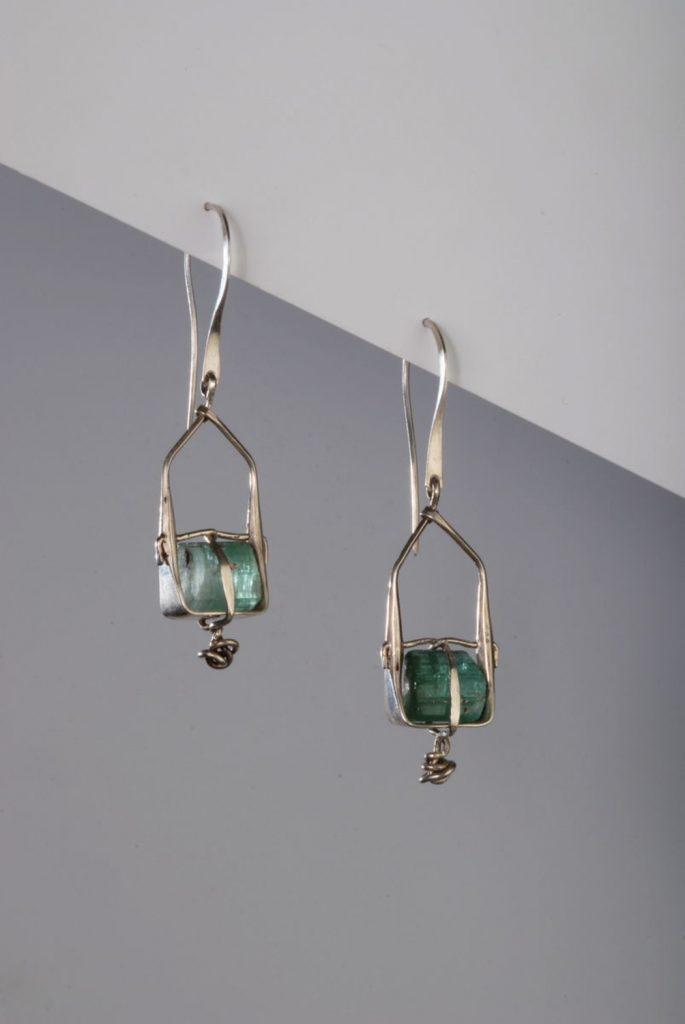 Earrings Parcel, 2013, silver, turmaline crystals, 4,5x1,5x0,5 cm