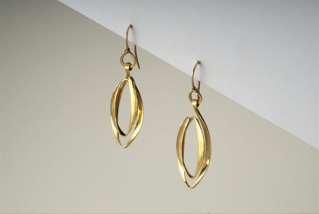 Earrings, Sparkling fish, 2017, gold-plated bronze, 4x1,2x0,5 cm