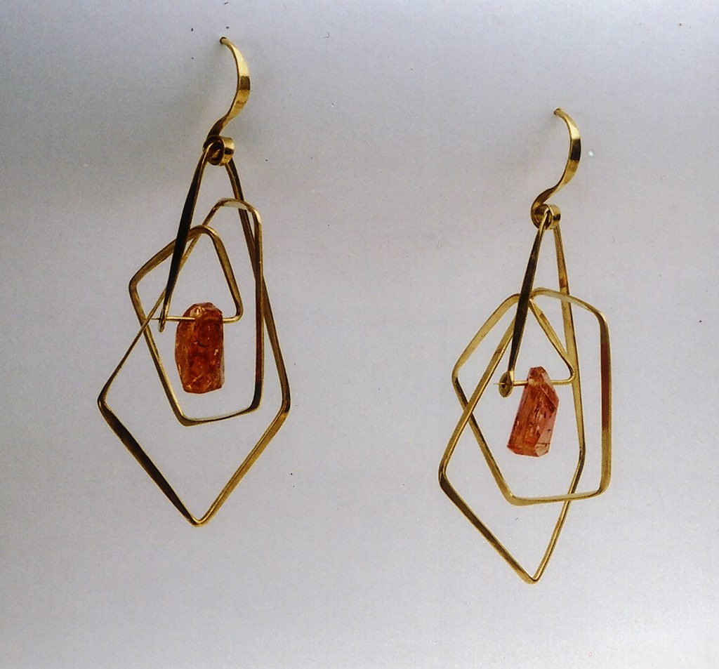 Earrings Cage, 2003, gold, imperial topaz, 6,5x3,5x3,5 cm