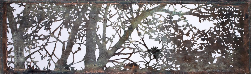 White Birch Branches. Acid cut Vintage Copper, 38 x 110 cm