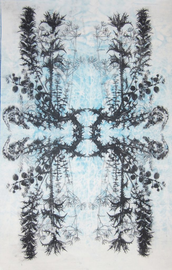 Mirrored August. Cyanotype and ink on mulberry paper 92 x61cm