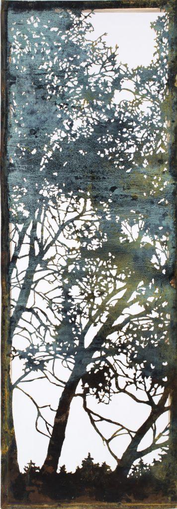 White Birch. Acid cut Vintage Copper, 110 x 38 cm