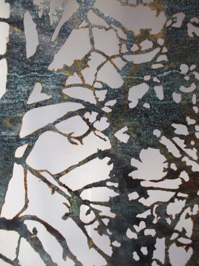 Detail of White Birch Branches. Acid cut Vintage Copper, 38 x 110 cm