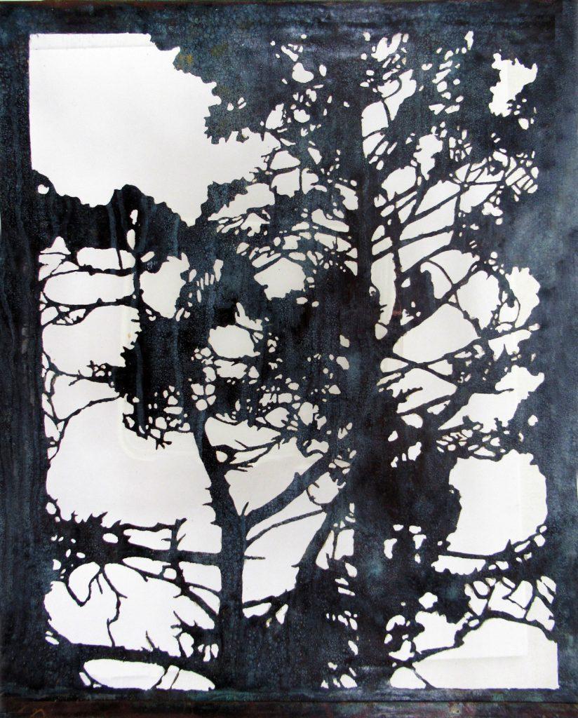 White Pine. Acid cut Vintage Copper, 38 x 31cm