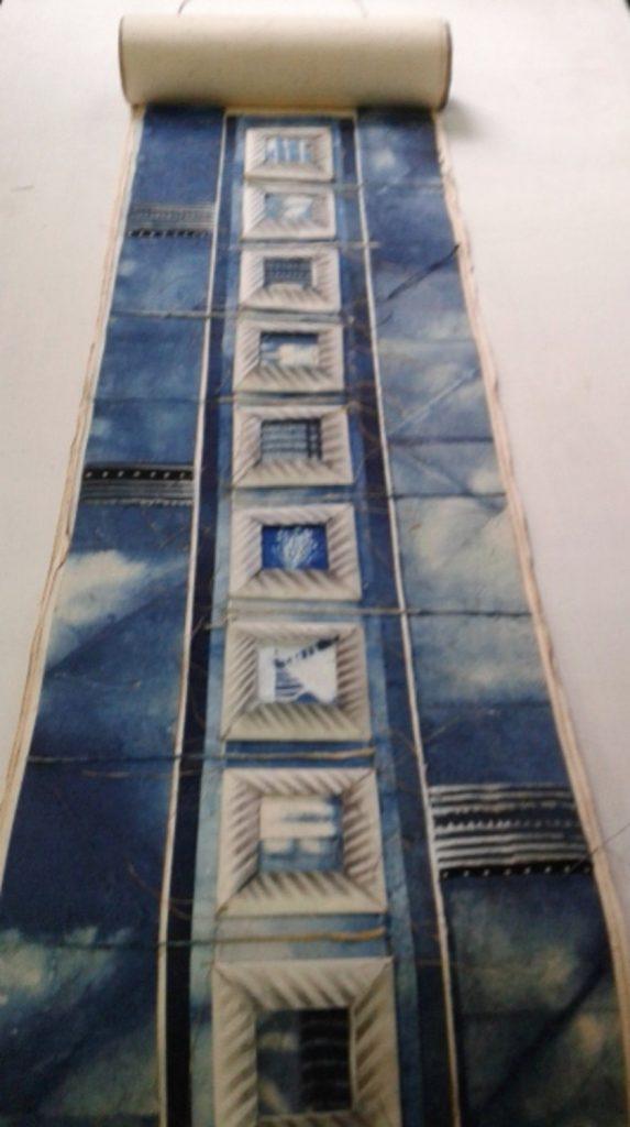 Blues, detail. Exhibition Sense of touch, Krebsen Gallery, Copenhagen 2015                                                                                  Cotton handmade paper, transparent paper, cotton cloth , tie-died, resist dyed ,printed, natural indigo dye