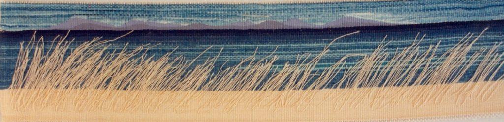 Sea landscape series, handwoven silk tapestries, tussar silk natural dyes , natural indigo