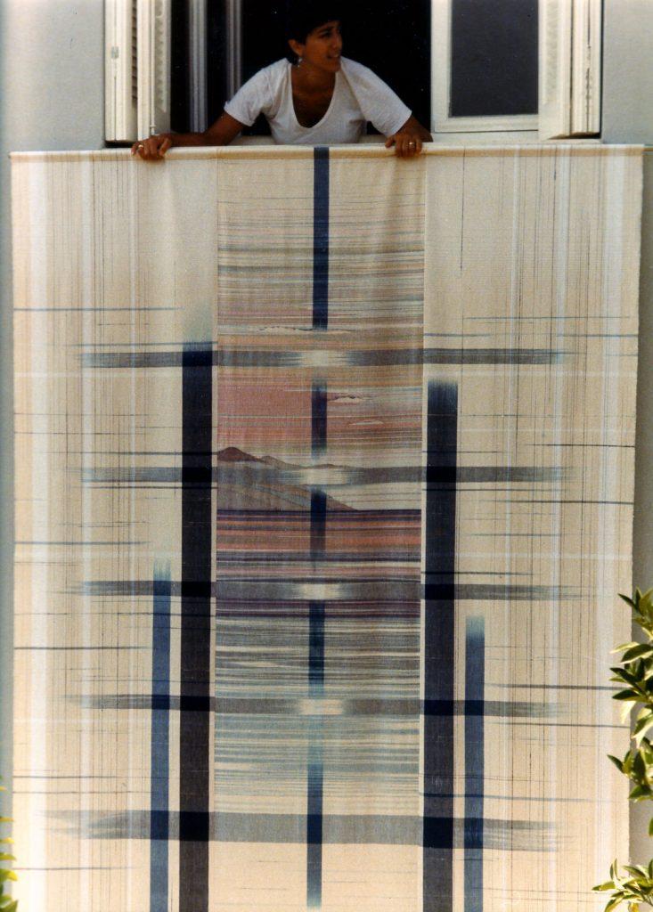 Sunset window, handwoven, cotton, silk, warp ikat,natural dyes