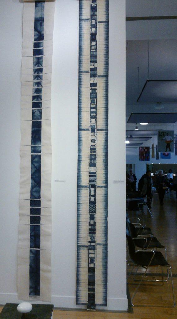 Blue Marks I and II, 2014. Handmade paper, cotton cloth, natural indigo dye, tie-dye, resist dye.