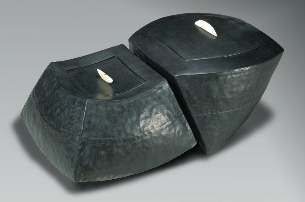 Couple of boxes, Smoked clay, bone, 42 x 25 x 20cm