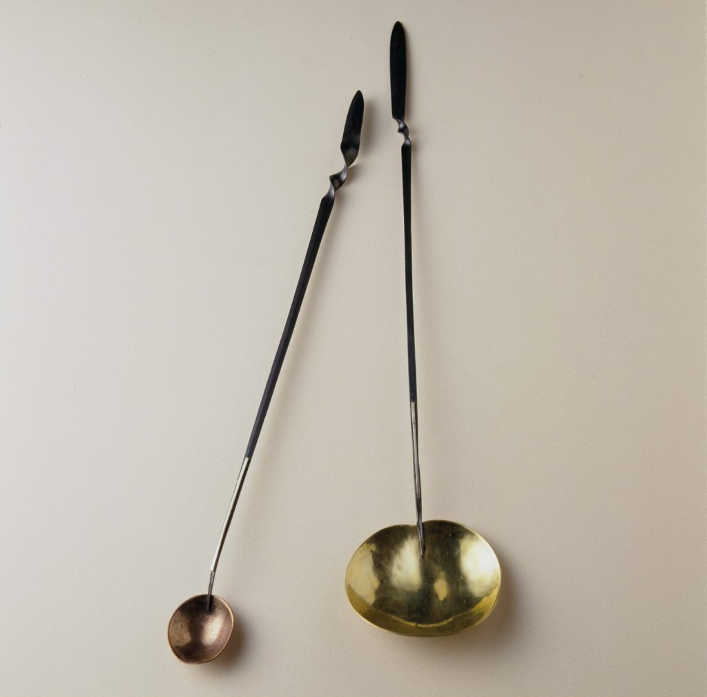 """Symbol spoon"": forged iron, bronze copper"