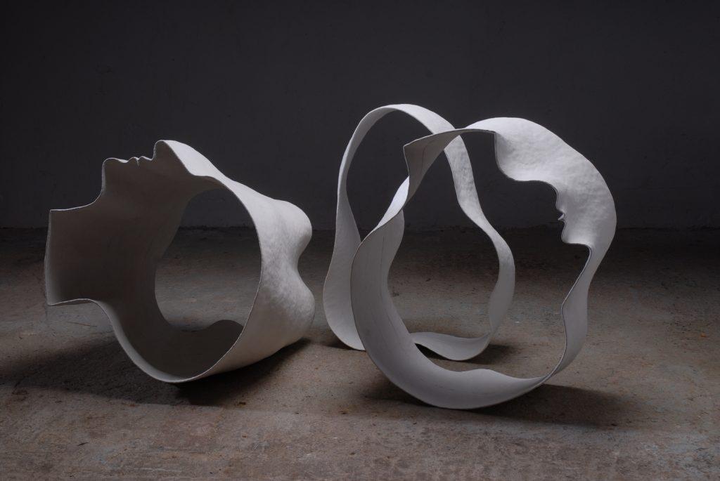 """Flowing heads"", 2009, stoneware, 120 x 50 x 40cm"