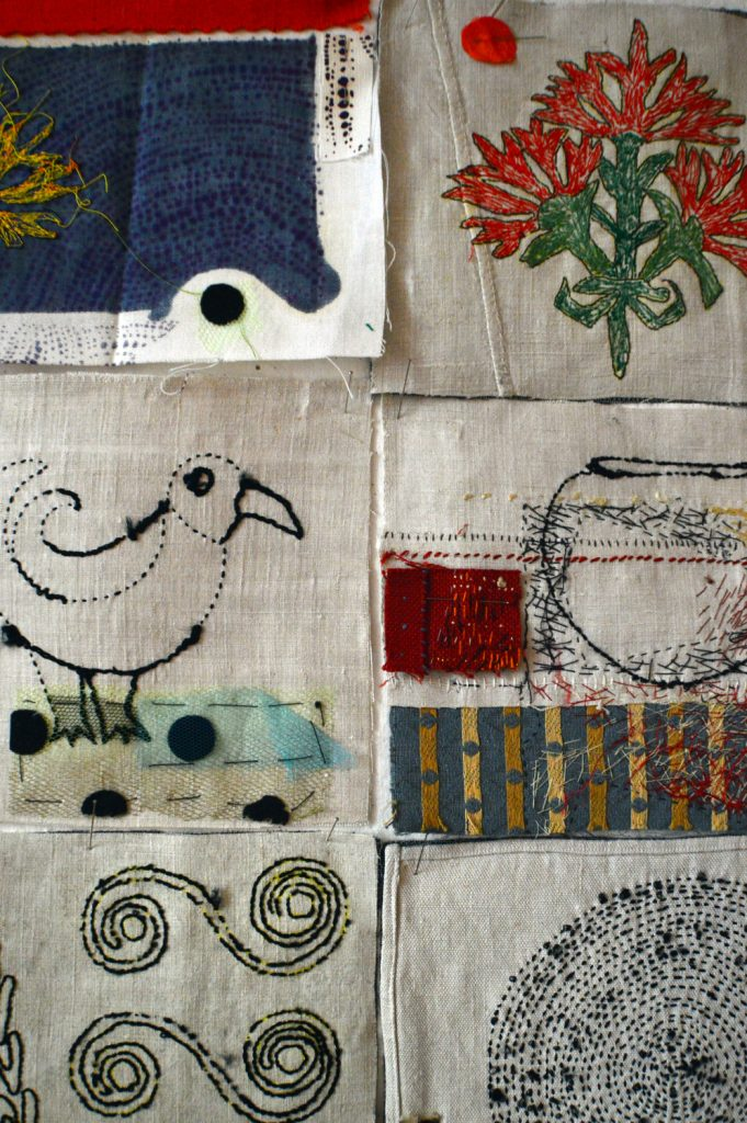 Hand-embroidery on old French linen,silk-screen print,paint,applique',cotton-linen-and silk yarn.