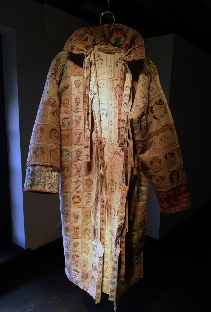 The Coat. Embroidery and painting on cloth.Applique'.Cotton-linen-gold-and silk yarn.