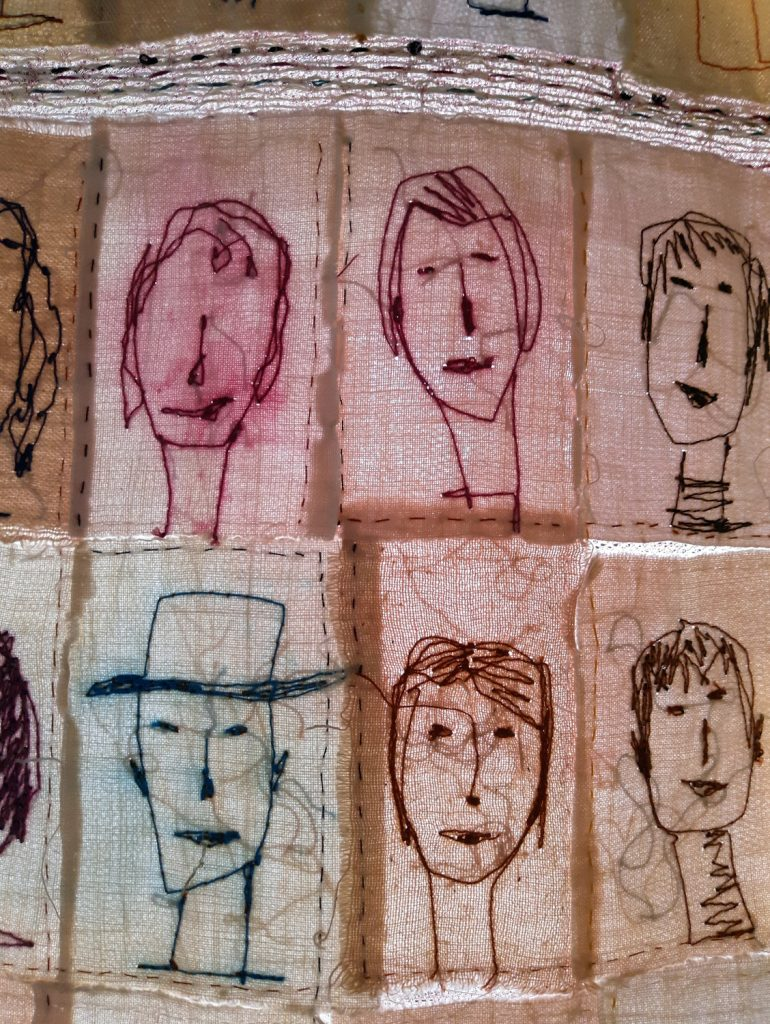 All those people...Embroidery and painting on cloth.Cotton-linen-gold-and silk yarn.