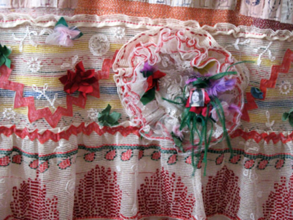 Hand-and machine embroidery,applique',cotton-linen-and silk yarn.