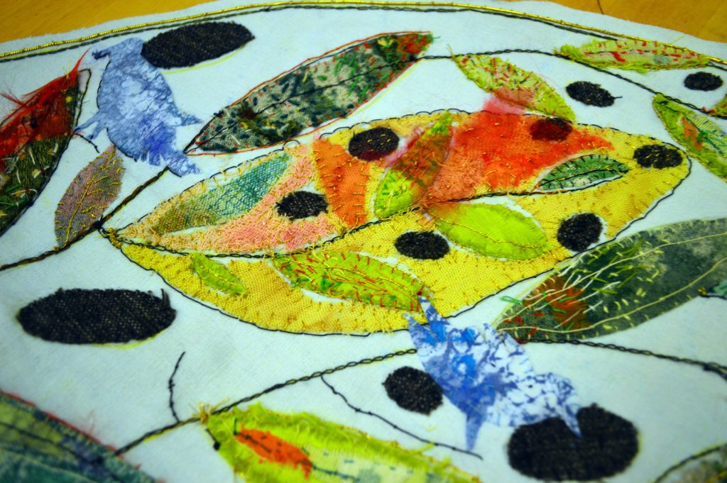 Hand embroidery on linen, cotton, canvas, cheesecloth, paint, printed cloth, cotton-linen-gold-and silk yarn.