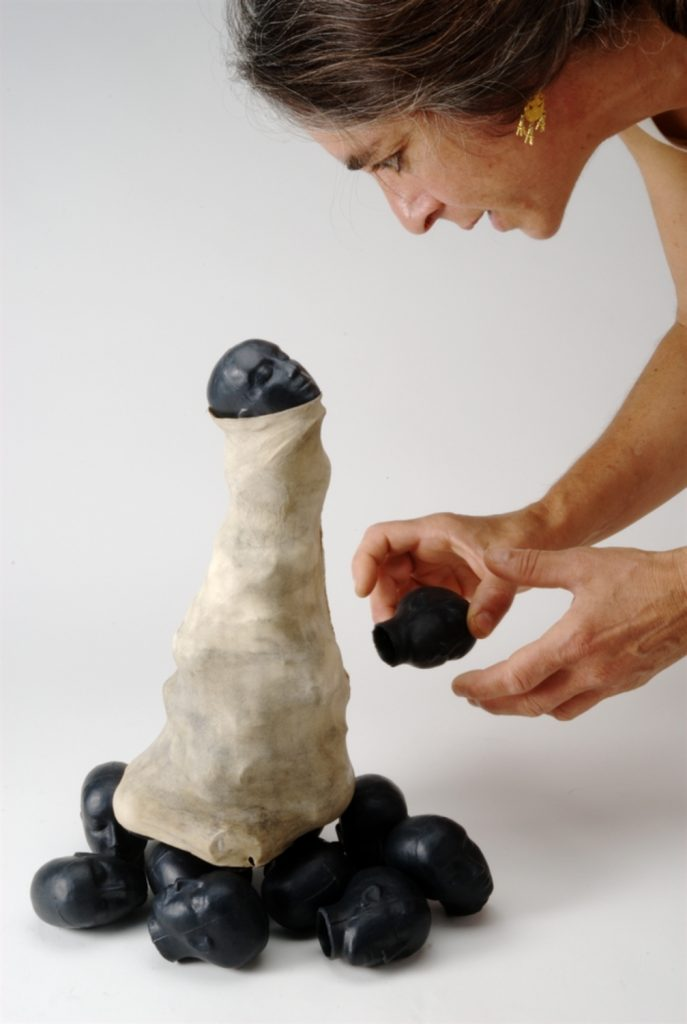 """""""Renaissance"""", 2008, smoked clay, goat skin, 32cm heigh"""