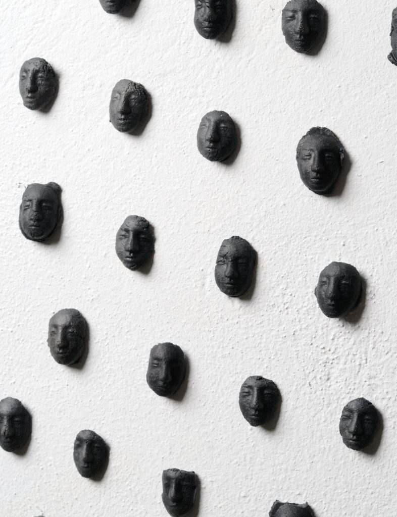"""""""Now that I'm shiprwecked, the journey is good"""", 2008, detail of installation. Smoked clay."""
