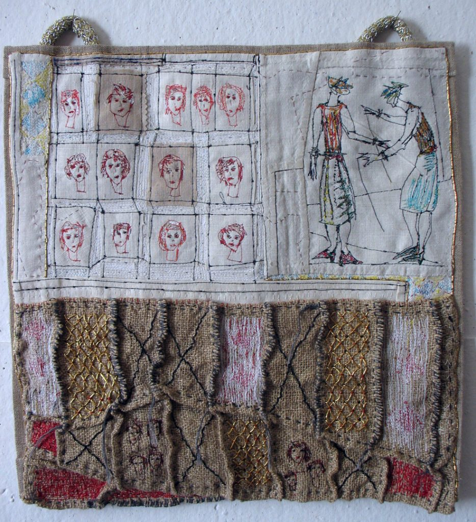Embroidery by hand and by sewing-machine. Old French linen, sackcloth. Silkyarn.Goldthreads.