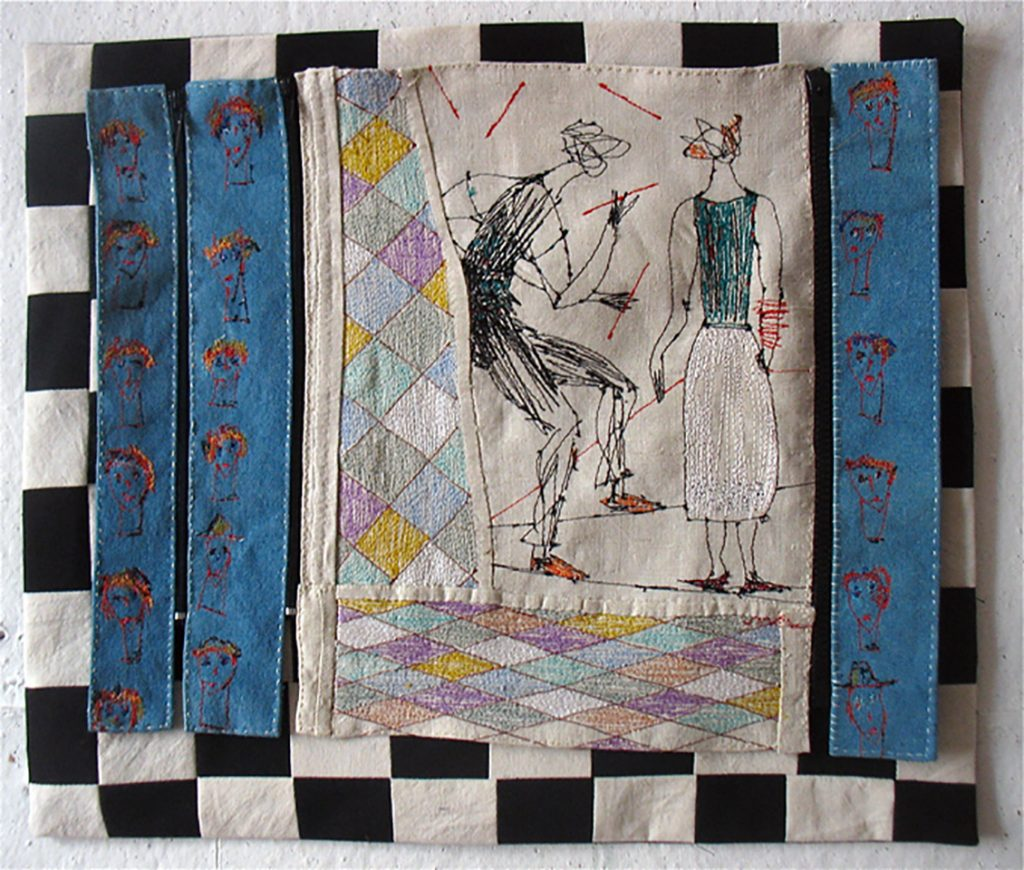 JUGGLERS and ONLOOKERS. Embroidery by sewing-machine on old French linen. Size: 45x45