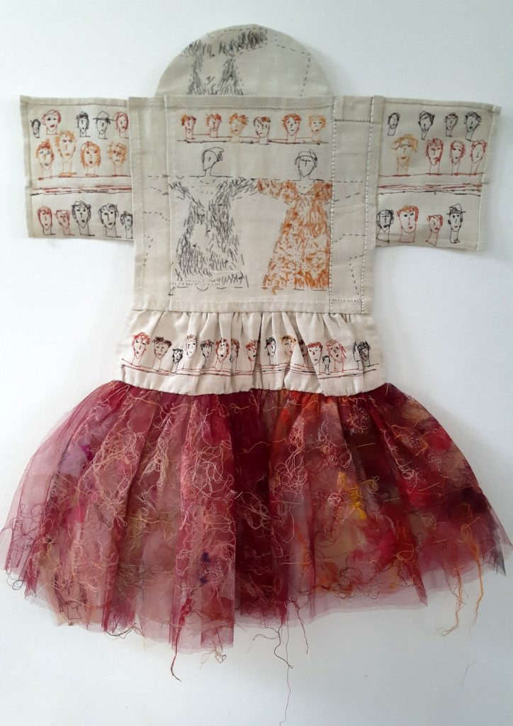 Small Dresses. Embroidery on old French linen cloth. Tulle. Cotton-linen-gold-and silk yarn.