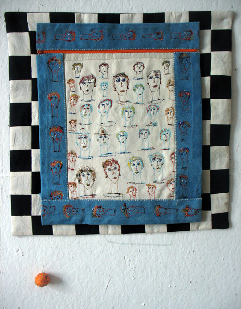 ONLOOKERS. Embroidery by sewing-machine on old French linen.Size: 40x40