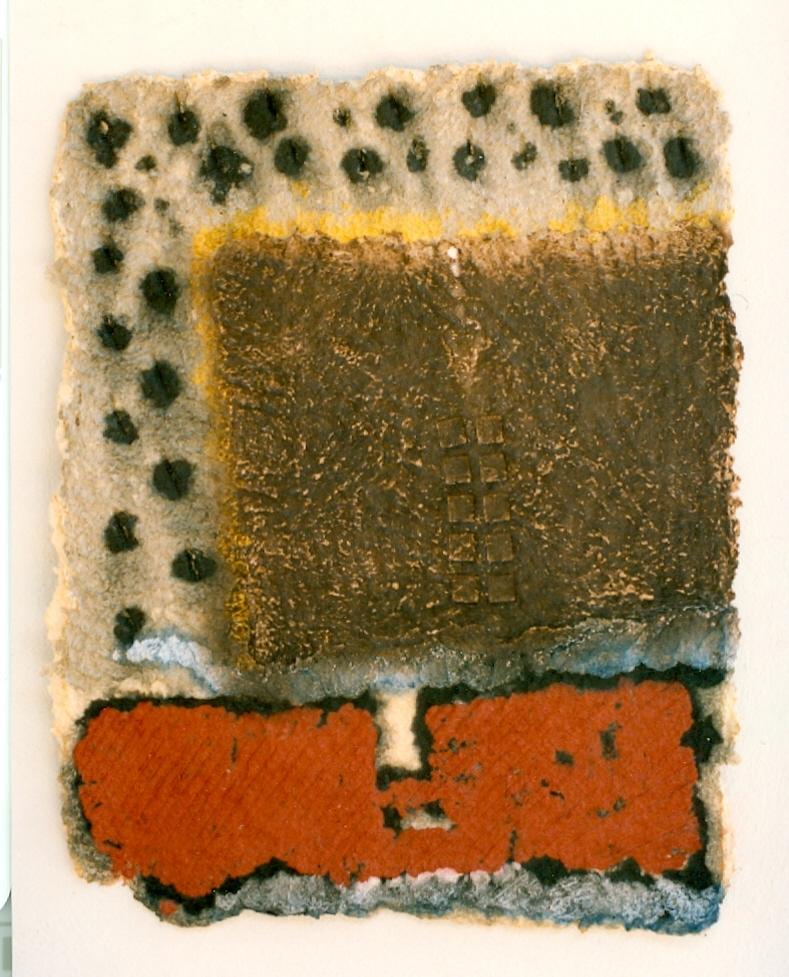 '' Field '',   1995<br>Handmade paper pulp<br>79 x 62 cm.