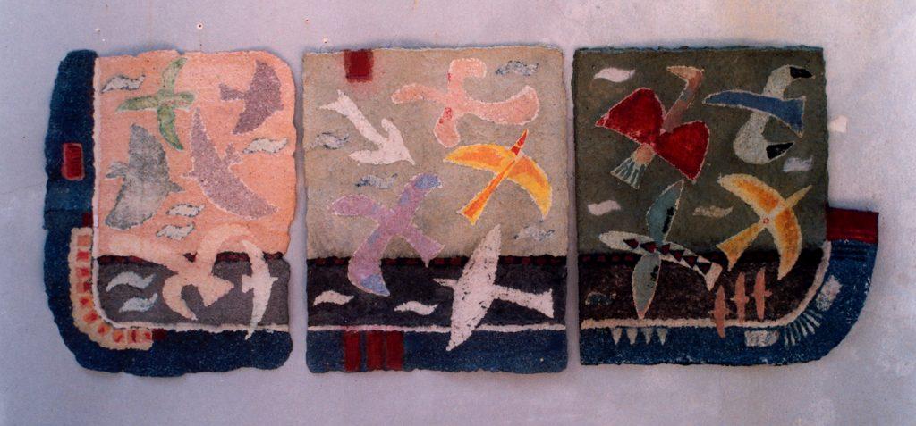 '' Immigration '',   1996<br>Handmade paper<br>76 x 200 cm.