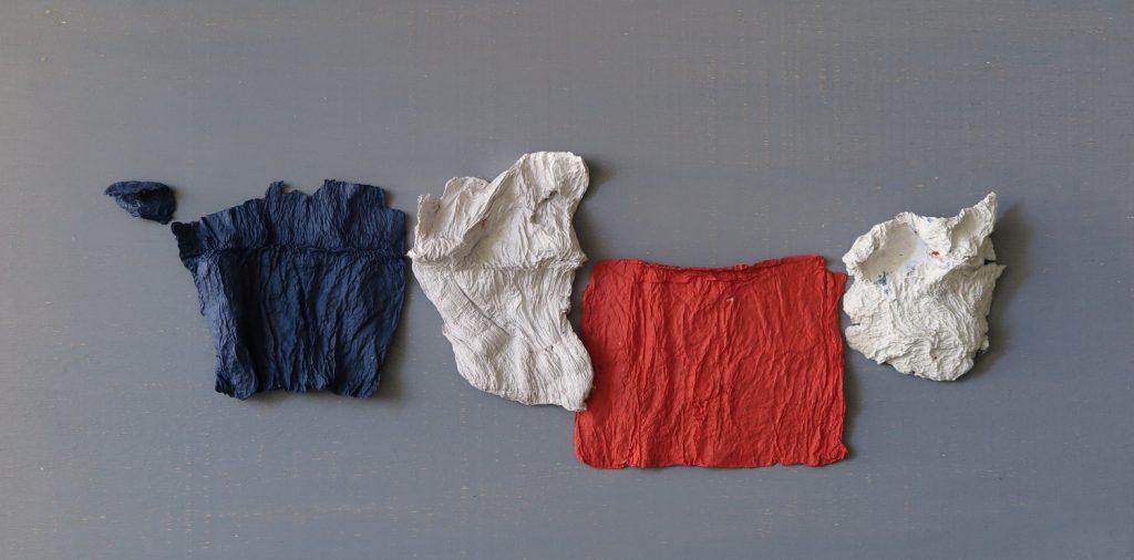 '' For France '',   2018<br>Handmade paper<br>25 x 60 cm.