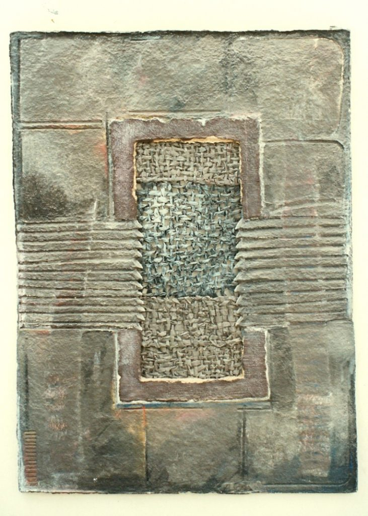 '' Entrance II '',   1994<br>Handmade paper, newspaper<br>160 x 115 cm.