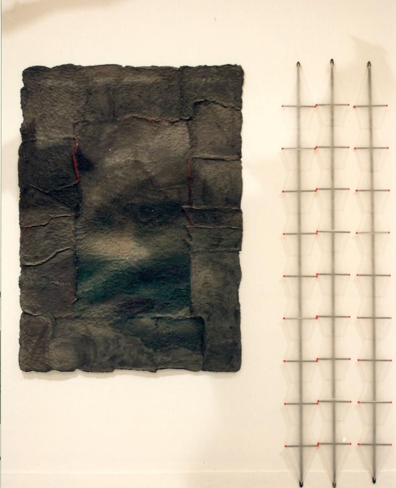 '' Guard '',   1992<br>Handmade paper, transparent paper, wood<br>200 x 200 x 12 cm.