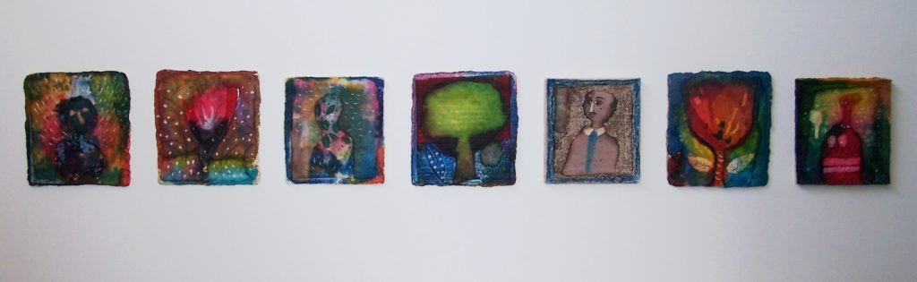 '' Humans and Trees ''   2011<br>Handmade paper, collage, ink<br>12 x 87 cm.    ( 36 x 110 )