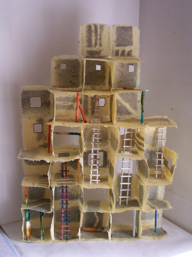 '' Scaffolding '',   2005<br>Handmade paper, newspaper<br>65 x 45 x 11 cm.