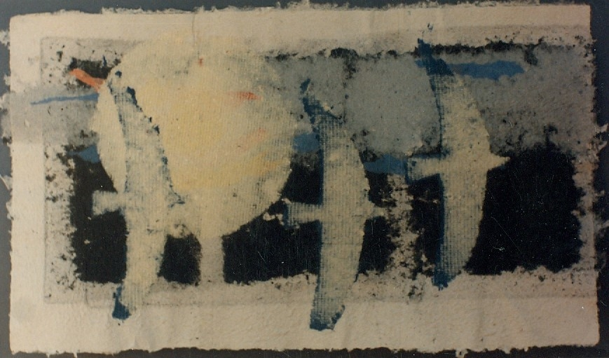 '' Travel '',   1994<br>Print with paper pulp on freshly made paper<br>25 x 43 cm.
