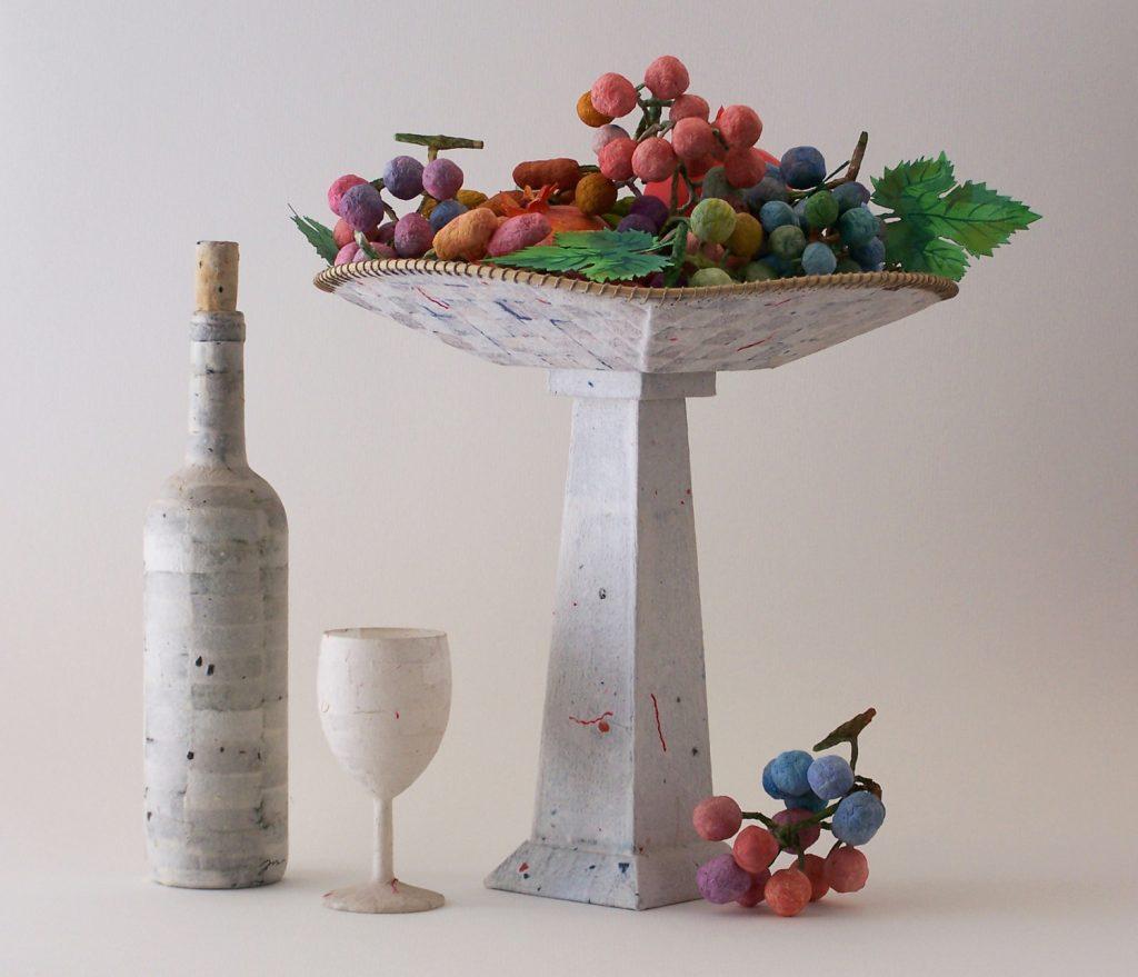 '' Grapes '',   2012<br>Papie mache<br>50 x 33 x 33 cm.