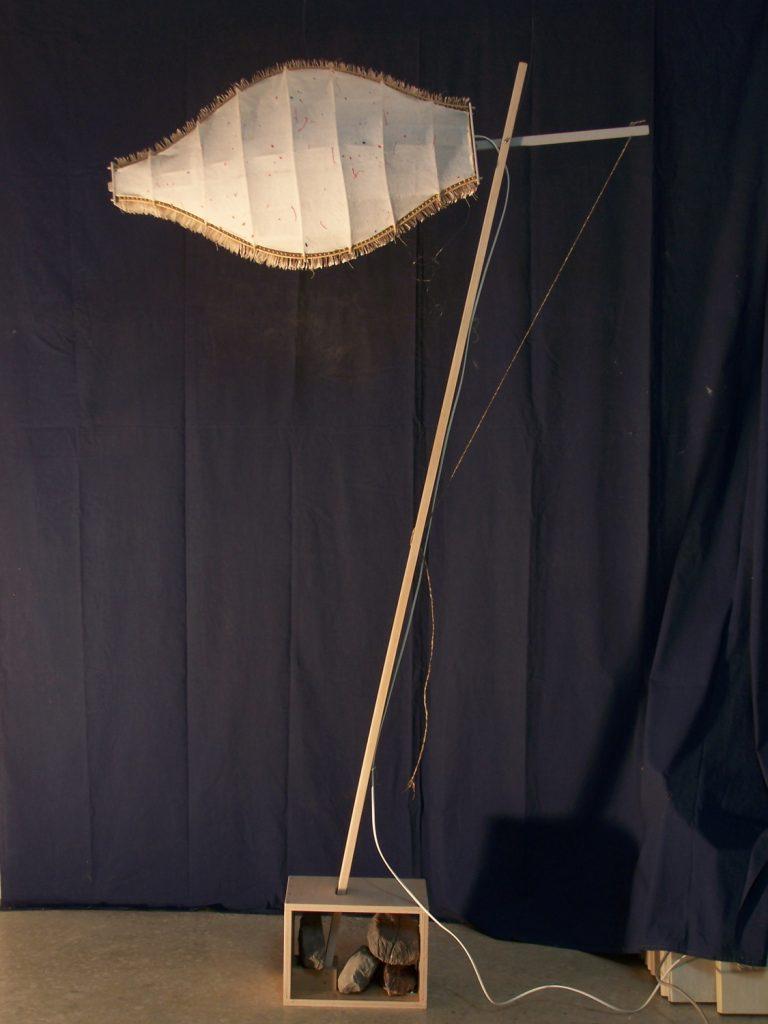 '' Cobra '',   2012<br>Handmade paper, rattan, light<br>76 x 45 x 25 cm.
