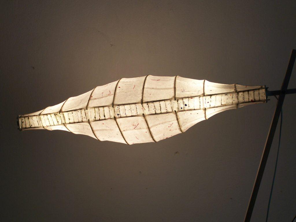 '' Tinos '',Handmade paper, rattan, light<br>186 x 65 x 30 cm.