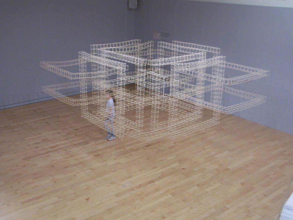 '' Double Ties '', 2009  at Benaki Museum<br>Handmade paper, rattan, thread<br>150 x 380 x 380 cm.