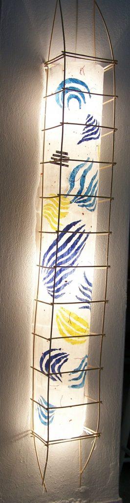 '' Lakes '',<br>Handmade paper, rattan<br>110 x 33 x 33 cm