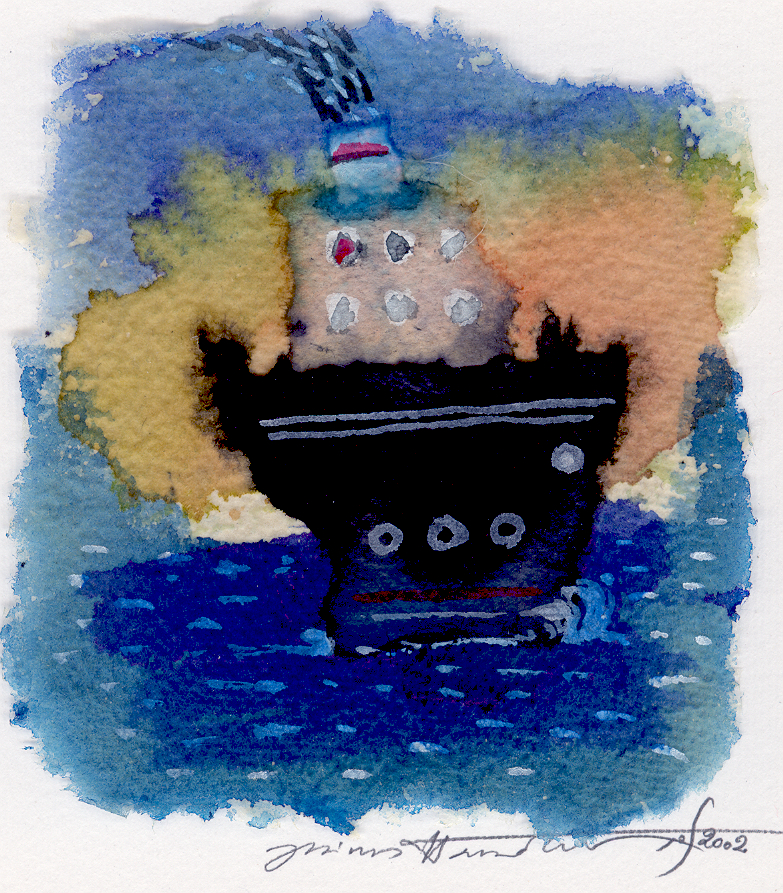 '' A boat is traveling '',   2002<br>Collage and inks on handmade paper<br>11 x 10 cm.