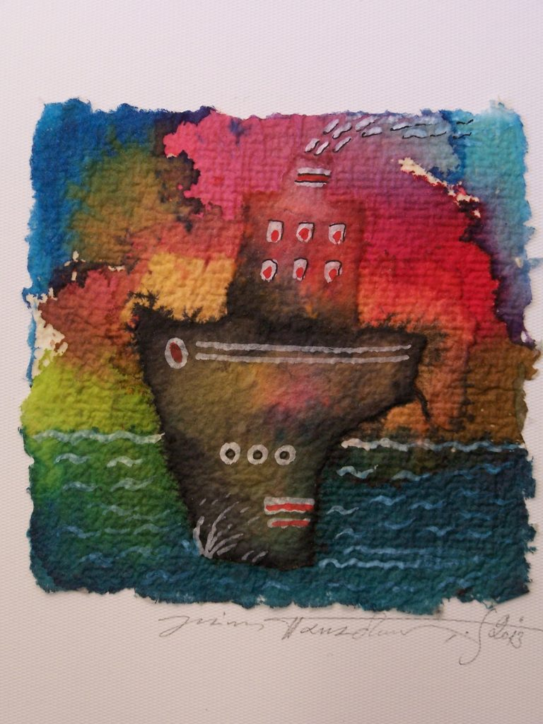 '' A boat is traveling '',   2013<br>Collage and inks on handmade paper<br>11 x 10 cm.