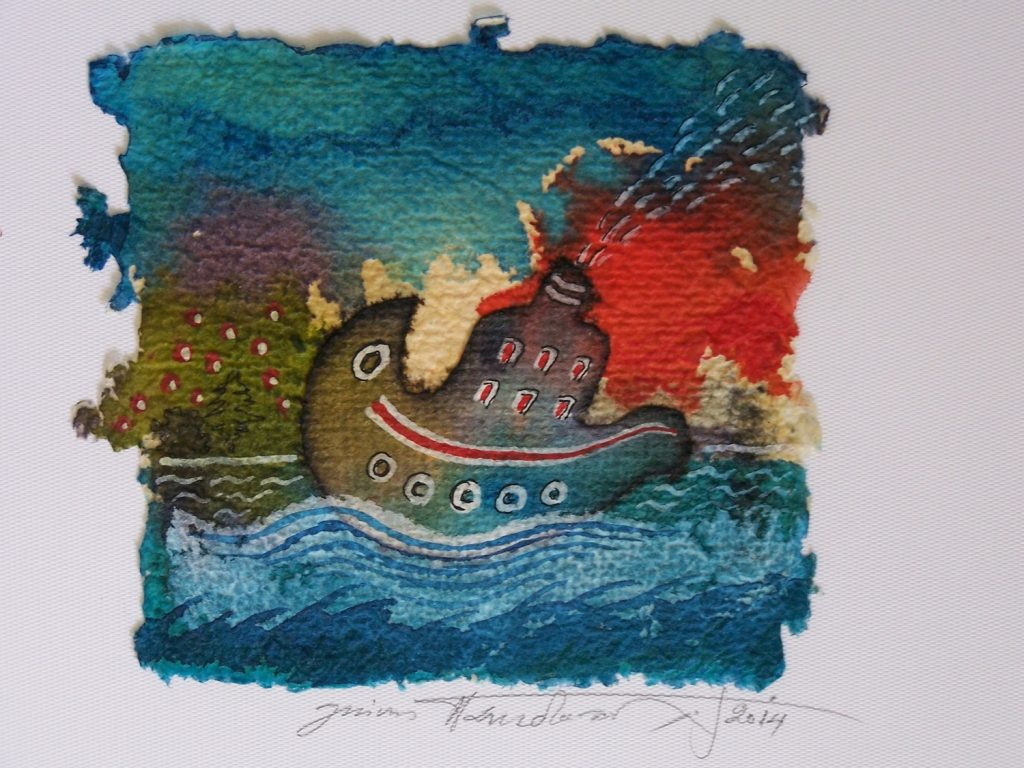 '' A boat is traveling '',   2014<br>Collage and inks on handmade paper<br>11 x 10 cm.