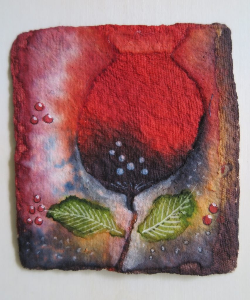 '' Red Flower '',   2018<br>Collage and ink on handmade paper<br>11 x 10 cm.