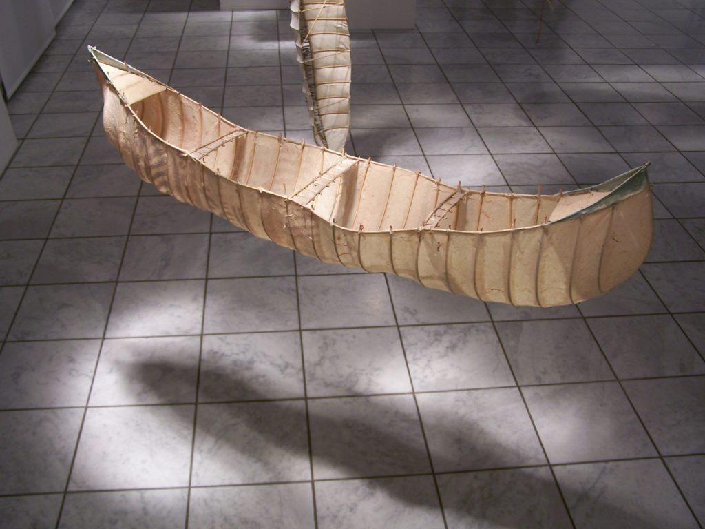 '' Test Event '',   2003<br>Handmade paper, rattan<br>120 x 30 x 25 cm.
