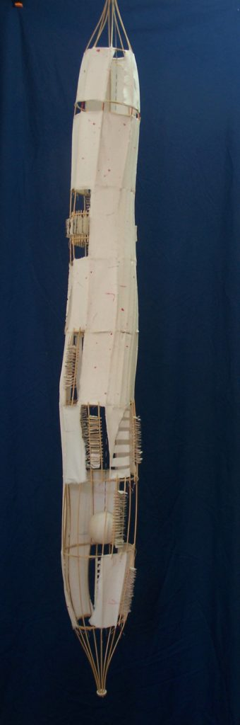 ' Paper Space '',   2013<br>Handmade paper, rattan<br>180 x 18 x 18 cm.