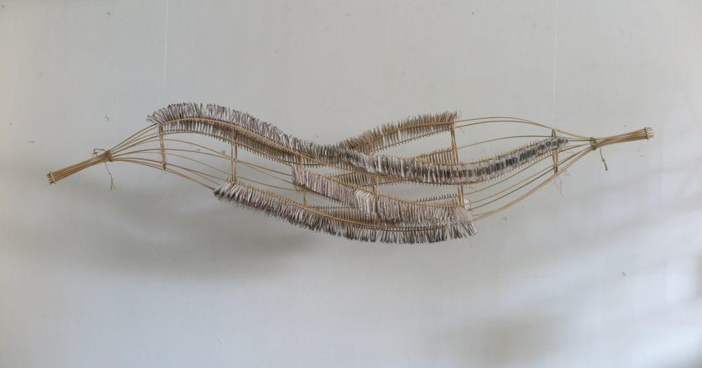 '' Let's twist again '',   2018 <br>Handmade paper, rattan, thread <br>30 x 140 x 30 cm.