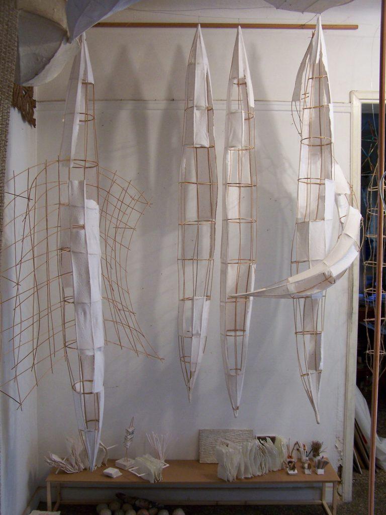 '' Tango '',   2008 <br>Handmade paper, rattan <br>200 x 150 x 160 cm.