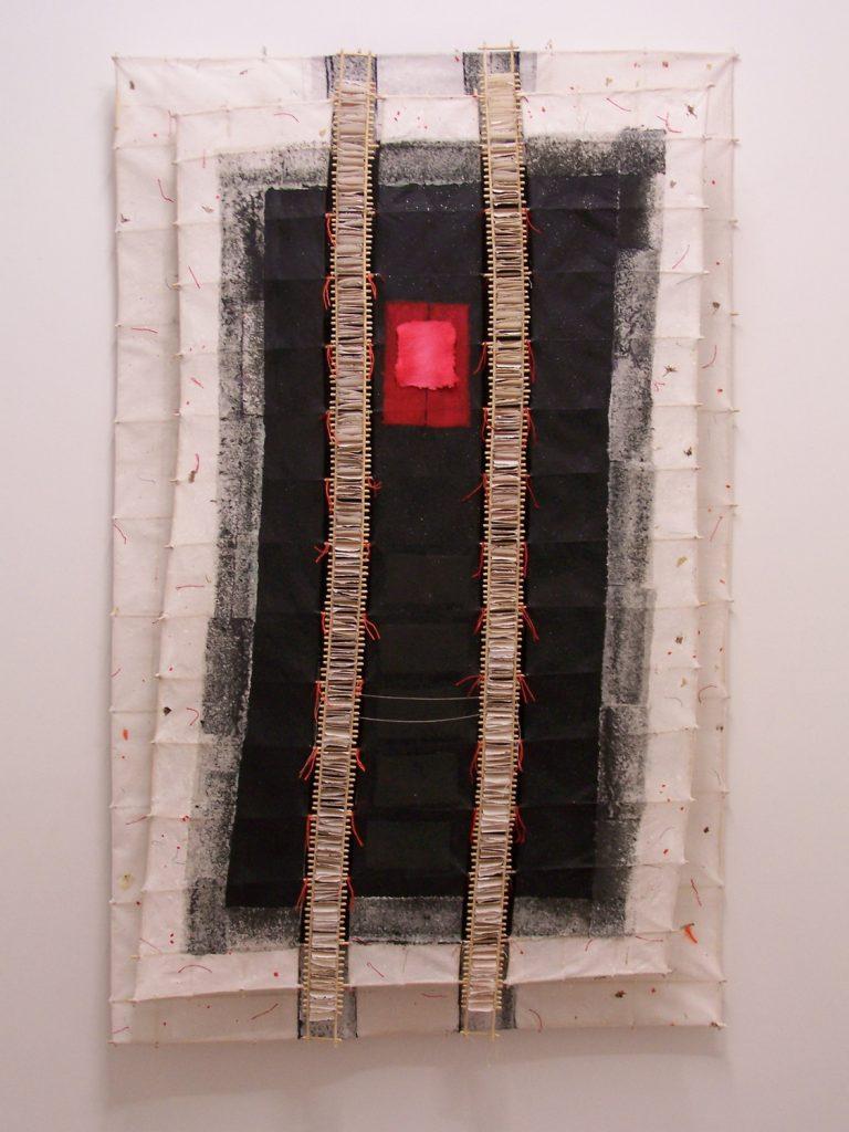 '' Galaxy '',   2012 <br>Handmade paper, rattan, gauze, thread <br>152 x 96 x 12 cm.